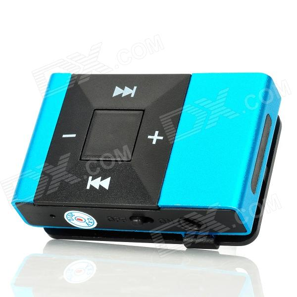 Recarregável Free Screen MP3 Player w / TF Slot / 3,5 mm - Azul + Preto