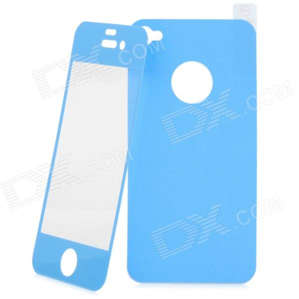 Matte Protective Front + Back Cover Skin Sticker for Iphone 4 / 4S - Blue new star wars power stormtrooper skin sticker for xbox one console 2pcs controller skin kinect protective cover