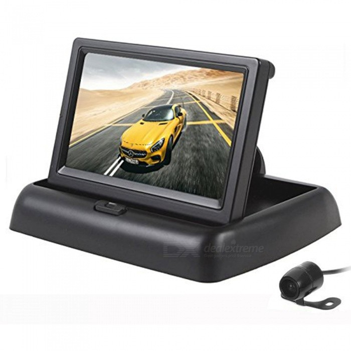 "4.3 ""TFT LCD Folding Car Rear View-Stand Security Monitor e Camera Kit - Preto"