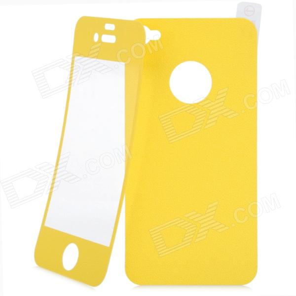 Matte Protective Front + Back Cover Skin Sticker for Iphone 4 / 4S - Yellow new star wars power stormtrooper skin sticker for xbox one console 2pcs controller skin kinect protective cover