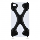 X-Bone Style Protective Back Case with Screen Protector for iPhone 4 / 4S - White + Black