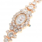 Noble Colorized Crystal Golden Lady's Quartz Wrist Watch
