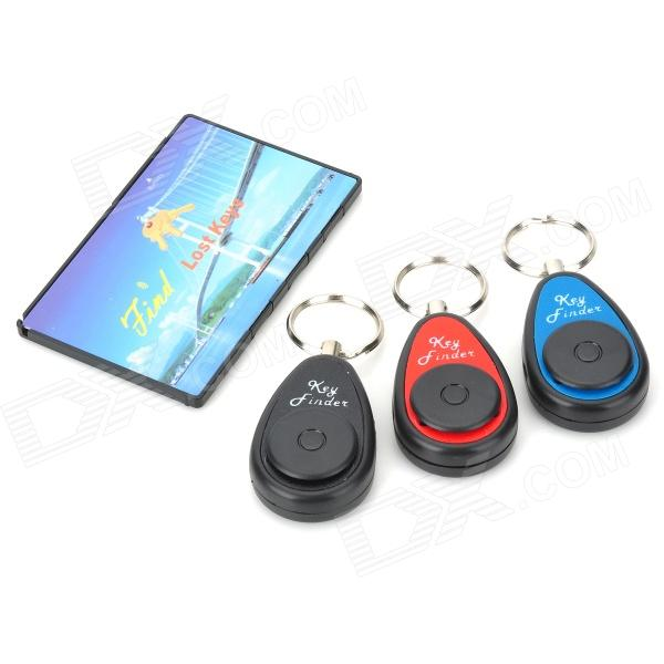 FK-383F-1 Electronic Key Transmitter w/ Receivers Finder - Black + More (4 PCS) 1 to 4 electronic wireless key finder keychains set black 2 x cr2032 batteries