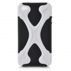 X-Bone Style Protective Back Case with Screen Protector for iPhone 4 / 4S - Black + White