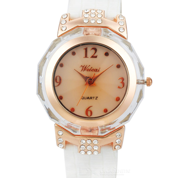 Noble Lady Crystal Quartz Wrist Watch (White Strap)