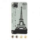 Protective Front Screen Protector + Eiffel Tower Pattern Back Cover Skin Sticker for iPhone 4 / 4S