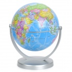 14cm All-direction Rotation English Map Administrative Globe - Silver + Blue