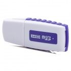 Portable USB 2.0 Mini SD / TF Card Reader - White + Purple