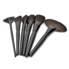 Professional Wool + PU Cosmetic Makeup Brushes Set - Black (24 PCS)