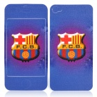 Football Team Barcelona Logo Pattern Protective Front + Back Cover Skin Sticker for iPhone 4 / 4S