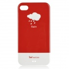 Stylish Rain Cloud Pattern Protective Case w/ Screen Protector for Iphone 4 / 4S - Red + White