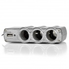 Triple Car Cigarette Sockets Power Adapter Charger with USB Port (12~24V)