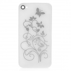 Butterfly and Flower Pattern Replacement Tempered Glass Housing Back Case for iPhone 4S - White