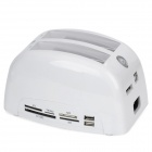 "All-in-1 Dual HDD Docking Station for 2.5""/3.5"" SATA w/ Card Reader / USB Hub / Power Switch - White"
