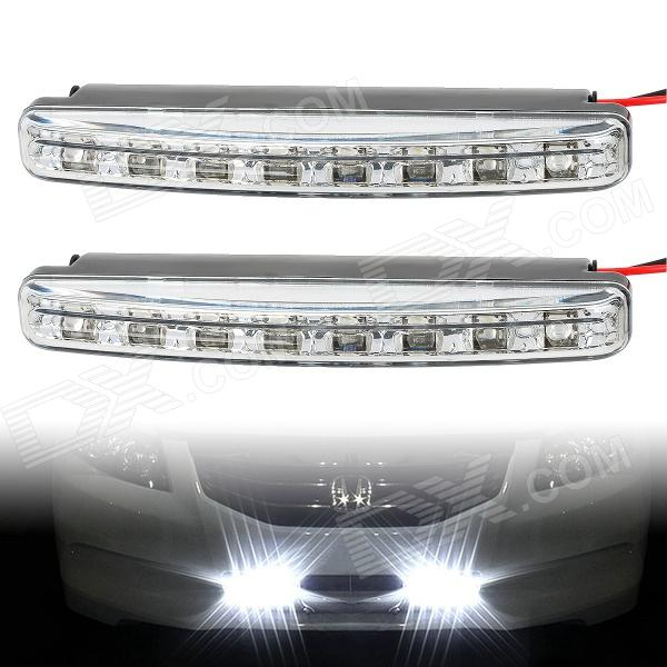 8W 8-LED White Light Car Daytime Running Light / Foglight (12V / 2PCS) gc h8 30w 6 led 600lm 6000k white light car headlamp foglight w anti beam dc10 24v