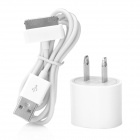 Mini AC Power Adapter w/ USB Data / Charging Cable for iPhone 4 / 4S - White (US Plug)