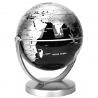14cm All-direction Rotation English Map Administrative Globe - Black+ Silver