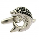 Fashion Rhinestone Dolphin White Steel Cufflinks For Men - Black + Silver (Pair)