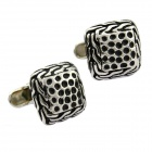 Unique Men's Honeycomb Style Square Steel Cufflinks - Silver + Black (2-Piece Pack)