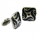Fashion Ancient Jewelry Lines Enamel White Steel Cufflinks For Men - Silver + Black (Pair)