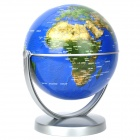 14cm All-direction Rotation English Map Administrative Globe - Blue + Silver