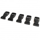 Plastic Side Release Luggage Strap Belt Clip Buckle - Black (5-Piece Pack)