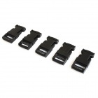 DIY Luggage Belt Strip Clip Plastic w/ Side Release Buckle - Black (5-Piece Pack)