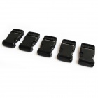 Luggage Strap Belt Clip Plastic w/ Side Release Buckles - Black (5-Piece Pack)