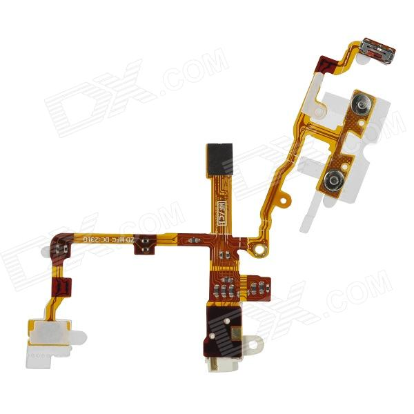 Replacement Audio Earphone Jack Power Volume Key Flex Cable for Iphone 3gs - Golden + White  replacement headphone audio jack flex cable for iphone 4 cdma