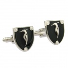 Fashion Duckbill Bird Pattern Shield Shape White Steel Cufflinks for Men - Silver + Black (2-Piece)