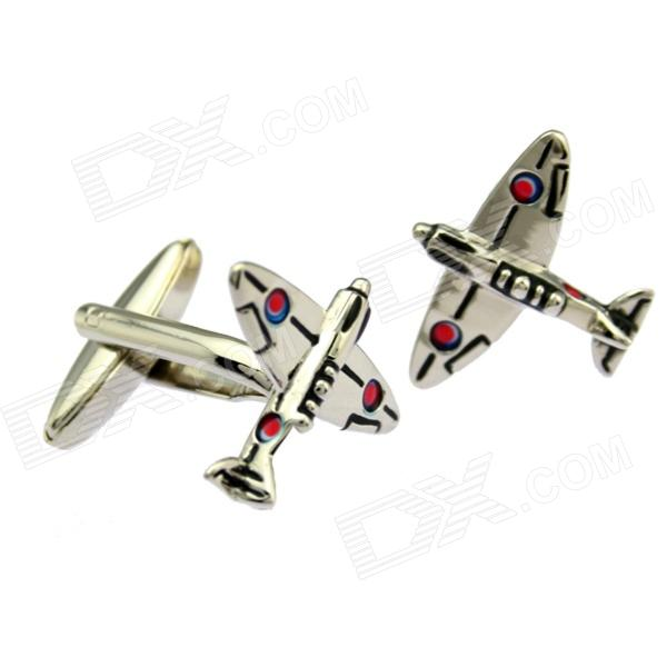 Stylish Men's Fighter Plane Style White Steel Cufflinks - Silver + Black (2-Piece Pack)