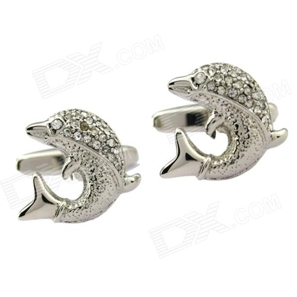 Fashion Rhinestone Decorative Dolphin Style White Steel Cufflinks for Men - Silver (2-Piece Pack)