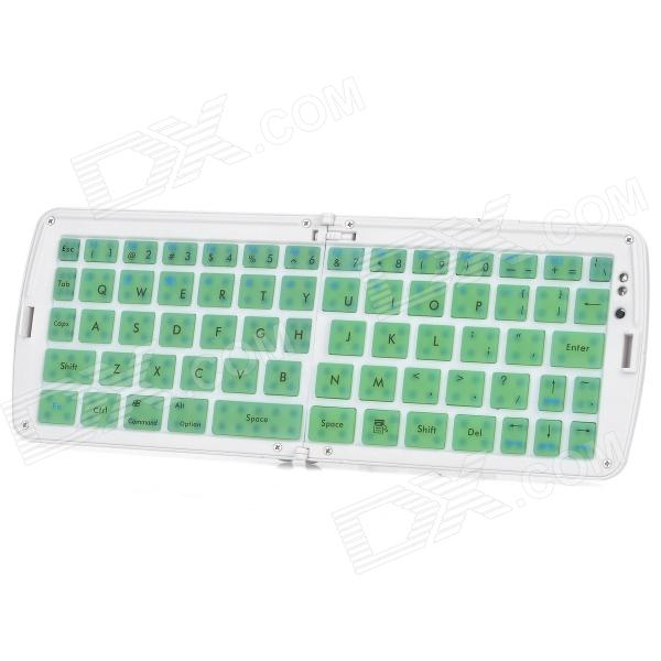 GK208 Waterproof Silicone Folding Bluetooth V3.0 66-Key Wireless Keyboard w/ Holder - Green + White
