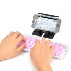 GK208 Waterproof Silicone Folding Bluetooth V3.0 66-Key Wireless Keyboard w/ Holder - Pink + White