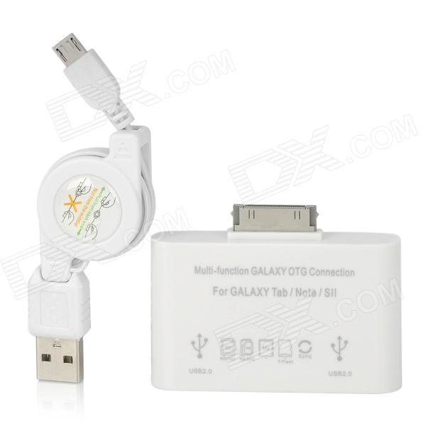 5-in-1 Multi-Function Card Reader / Connection Set for Samsung Tablets - White ssk scrm 060 multi in one usb 2 0 card reader for sd ms micro sd tf white