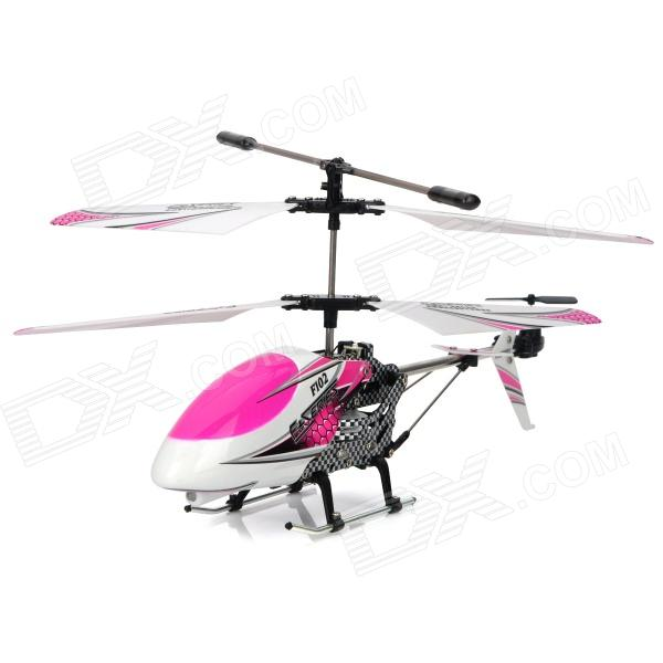 F102 Rechargeable 3.5-CH IR Controlled Aluminum Alloy R/C Helicopter - Pink + White remote controlled rechargeable racing kart r c car with desktop stand 40mhz