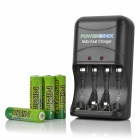 POWERGENIX Rechargeable 4 x 1.6V 2500mWh AA NiZn Batteries + Fast Charger Set
