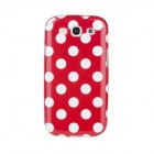 Lovely White Dots Pattern Protective Plastic Case for Samsung Galaxy S3 i9300 - Red