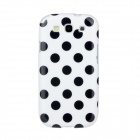 Lovely Black Dots Pattern Protective Plastic Case for Samsung Galaxy S3 i9300 - White