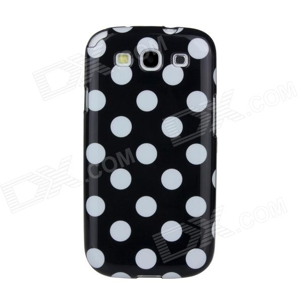 где купить Lovely White Dots Pattern Protective ABS Plastic Case for Samsung Galaxy S3 i9300 - Black дешево