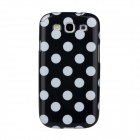 Lovely White Dots Pattern Protective ABS Plastic Case for Samsung Galaxy S3 i9300 - Black