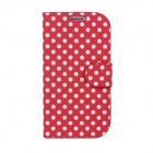 White Polka Dots Pattern PU Leather + Folding Stand Holder Case for Samsung Galaxy S3 i9300 - Red