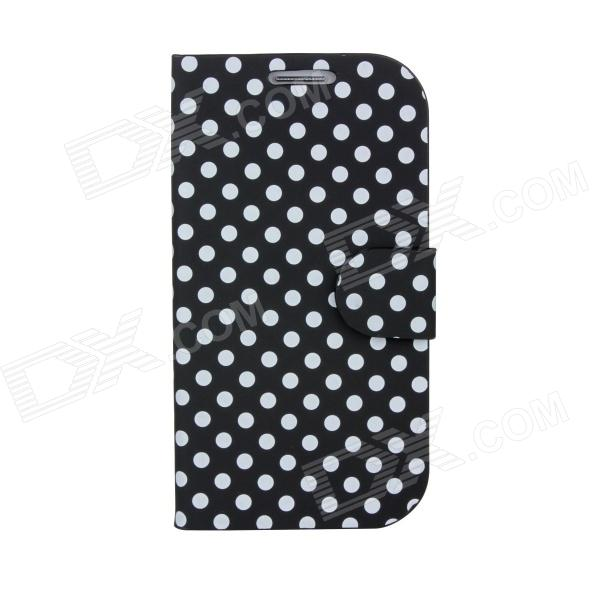 White Polka Dots Pattern PU Leather + ABS Folding Stand Holder Case for Samsung i9300 - Black 100x zoom microscope lens case w white 1 led light for samsung galaxy s3 i9300 black 3 x lr1130
