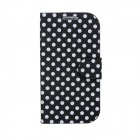 White Polka Dots Pattern PU Leather + ABS Folding Stand Holder Case for Samsung i9300 - Black