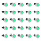2-Pin Lockfree Self-Reset Push Button Switches - Green + Silver (25-Piece Pack)