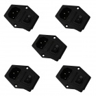 2-in-1 AC 250V 10A Flat Plug Power Socket Inlets w/ On/Off Rocker Switch / Fuse (5-Piece Pack)