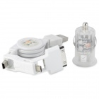 Mini Car Cigarette Lighter Charger w/ 3-in-1 USB Cable - White + Transparent (DC 12V)