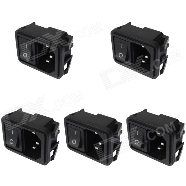 DIY AC 250V 10A Piso Plug Entradas Toma de corriente w / On / Off interruptor basculante (5-Piece Pack)