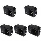 DIY AC 250V 10A Flat Plug Power Socket Inlets w/ On/Off Rocker Switch (5-Piece Pack)