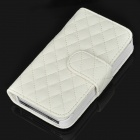 Protective Lambskin Leather Case Cover with Card Slot for Iphone 4 / 4S - White